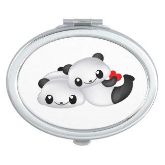Cute panda couple mirrors for makeup