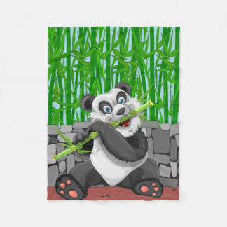 Cute Panda Eating his Favorite Food, Bamboo Shoots Fleece Blanket
