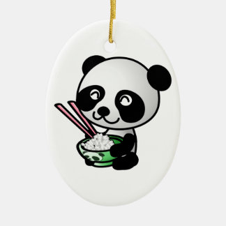 Cute Panda Eating Rice from Bowl with Chopsticks Ceramic Ornament