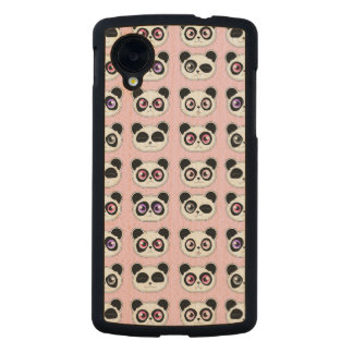Cute Panda Expressions Pattern Pink Carved® Maple Nexus 5 Slim Case