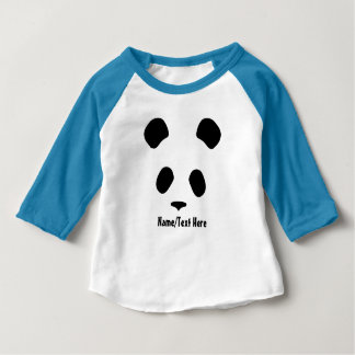 Cute Panda Face Name Customize Baby T-Shirt