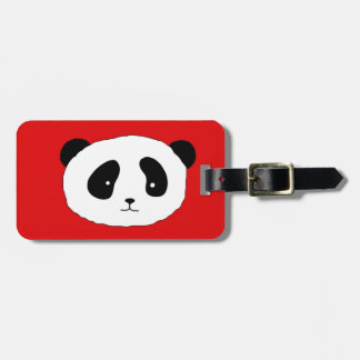 Cute Panda Face pattern red Luggage Tag