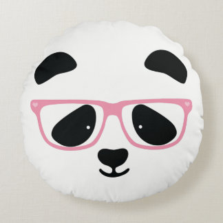 Cute Panda Face with Pink Glasses Round Pillow