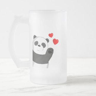 Cute panda frosted glass beer mug