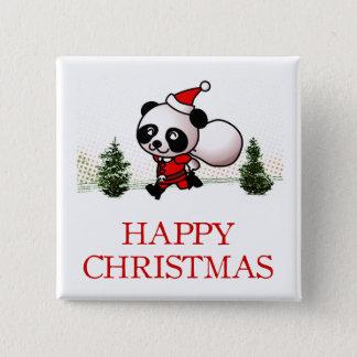 Cute Panda Happy Christmas 2 Inch Square Button
