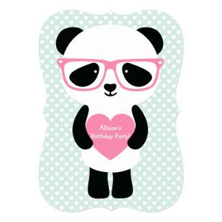"""Cute Panda Mint/Pink 5"""" X 7"""" Invitation Card"""