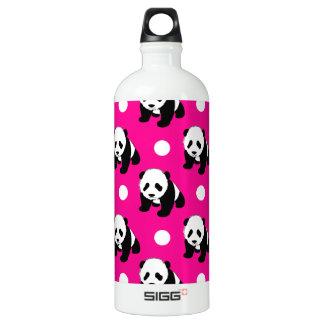 Cute Panda; Neon Pink, Black & White Polka Dots Water Bottle