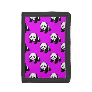 Cute Panda; Neon Purple, Black & White Trifold Wallet