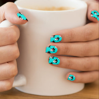 Cute Panda; Neon Turquoise Blue, Black & White Minx Nail Art