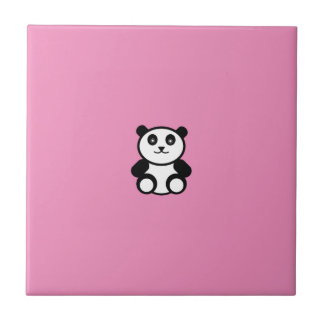 Cute Panda on Pastel Pink Ceramic Tiles