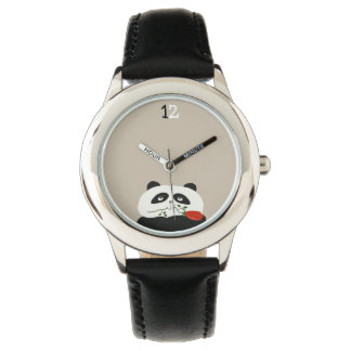 Cute Panda Romantic Funny Red Flower Cartoon Sweet Watch