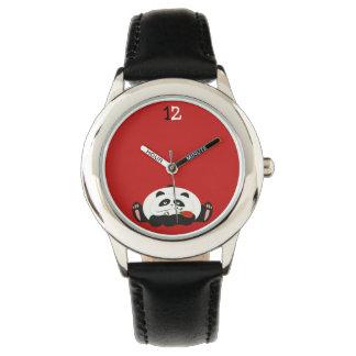 Cute Panda Romantic Funny Red Flower Cartoon Sweet Wristwatch