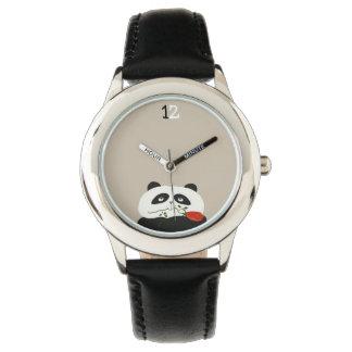 Cute Panda Romantic Funny Red Flower Cartoon Sweet Wristwatches