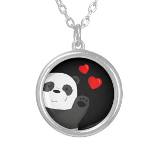 Cute panda silver plated necklace