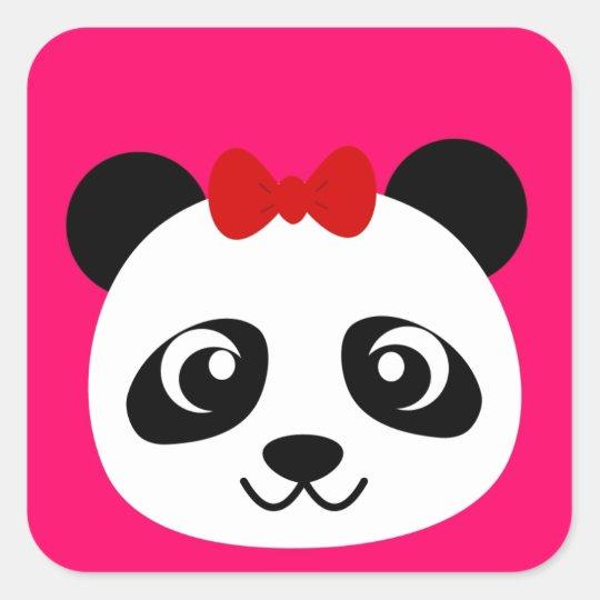 Cute Panda Square Sticker