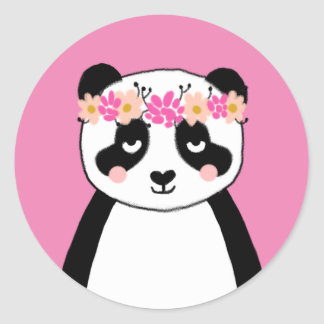 Cute panda stickers - pink flowers