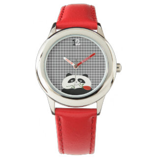 Cute Panda Tartan Grey Funny Bear Chic Red Flower Watch