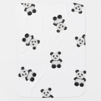 Cute Panda Watercolor Drawing Pattern Baby Blanket