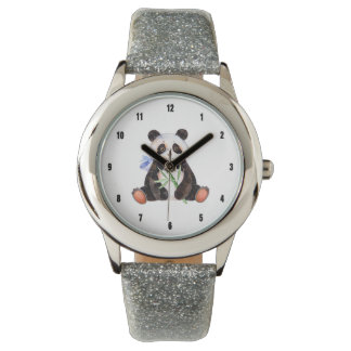 Cute Panda Watercolors Illustration Wrist Watch