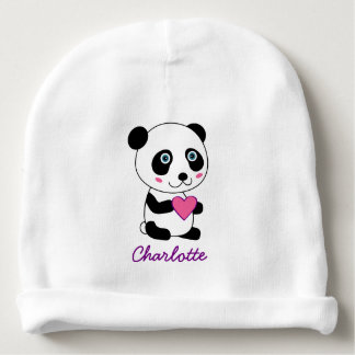 Cute Panda with a Pink Heart Personalized Name Baby Beanie