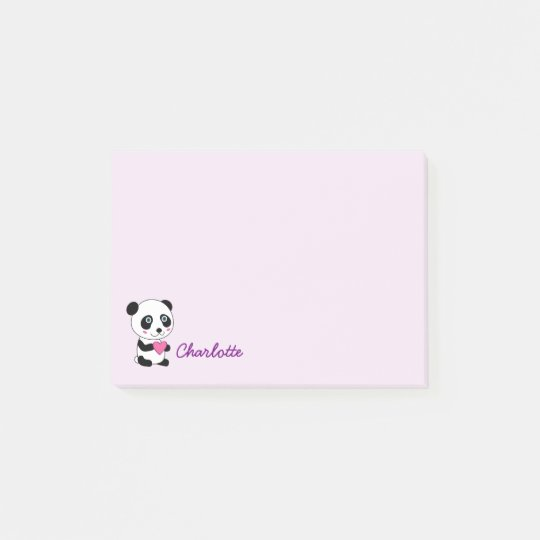 Cute Panda with a Pink Heart Personalized Name Post-it® Notes