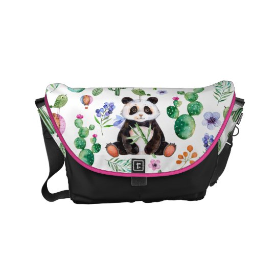 Cute Panda With Colourful Leafs & Cactus Pattern Commuter Bags