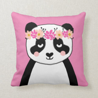 Cute Panda with Flowers girls room pillow decor