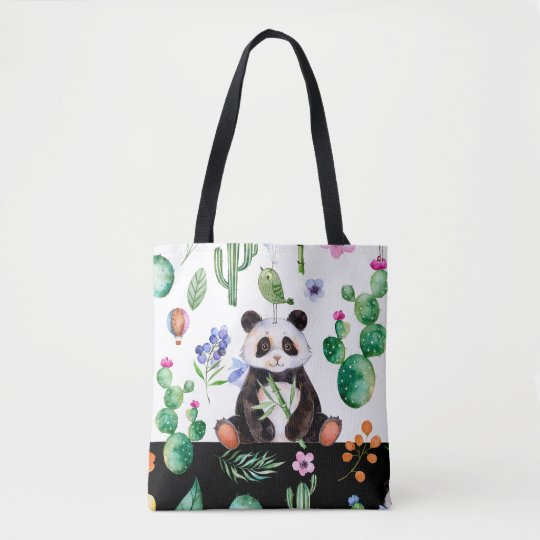 Cute Panda With Green Bird & Cactus Pattern Tote Bag