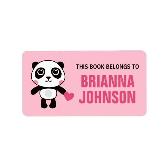 Cute panda with heart animal bookplate book