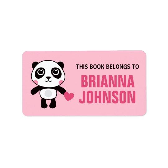 Cute panda with heart animal bookplate book label