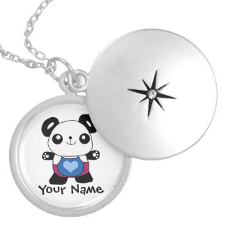 Cute Panda With Heart Silver Plated Necklace