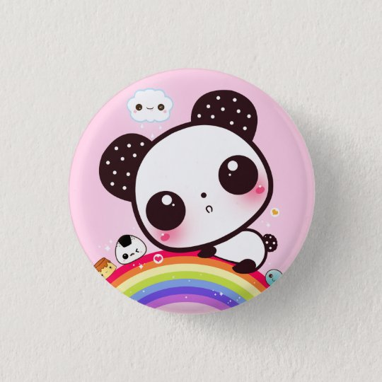 High Quality Cute Panda With Kawaii Food On Rainbow 1 Inch Round Button