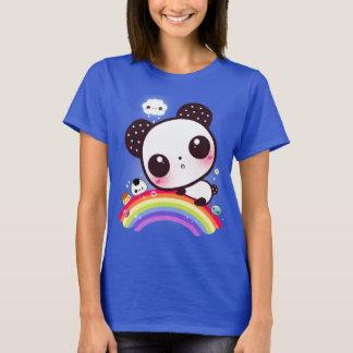 Cute panda with kawaii food on rainbow T-Shirt