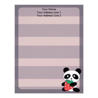 Cute Panda With Purple Stripes Custom Letterhead