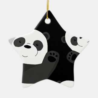 Cute pandas ceramic ornament