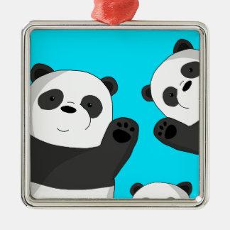 Cute pandas metal ornament