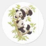 Cute Pandas Round Stickers