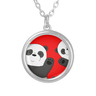Cute pandas silver plated necklace