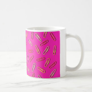 CUTE Paper Clip Pattern on Pink Coffee Mug