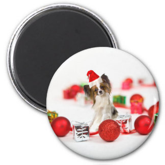 Cute Papillon Dog Christmas Santa Hat 2 Inch Round Magnet
