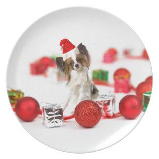Cute Papillon Dog Christmas Santa Hat Dinner Plates