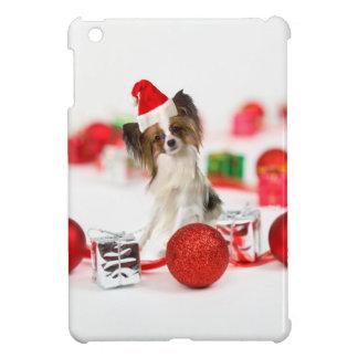 Cute Papillon Dog Christmas Santa Hat iPad Mini Cases