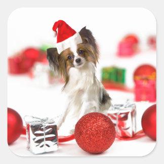Cute Papillon Dog Christmas Santa Hat Square Sticker