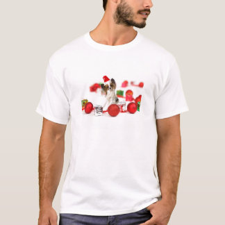 Cute Papillon Dog Christmas Santa Hat T-Shirt