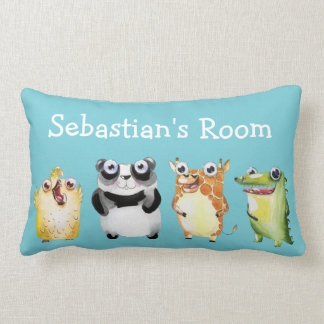 Cute Parade of Animals with Child's Name Lumbar Pillow
