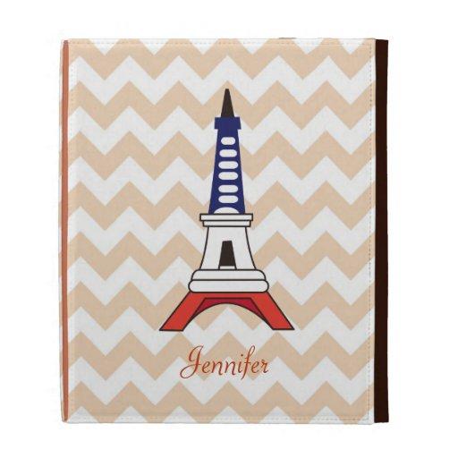 Cute Paris Eiffel Tower and Classic Orange Chevron iPad Folio Case