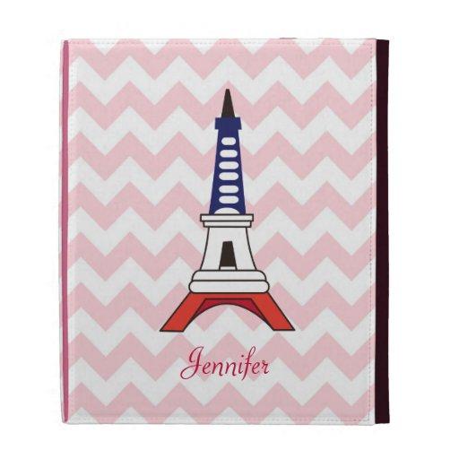 Cute Paris Eiffel Tower with Classic Pink Chevron iPad Folio Case