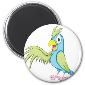 Cute Parrot Wing Up Showing Something Holding 2 Inch Round Magnet