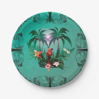 Cute parrot with flowers and palm 7 inch paper plate