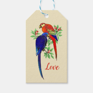 Cute Parrots In Love Blue Red Colorful Vintage Gift Tags